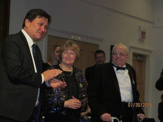 """John Kiltinen received the award of """"Knight First Class of the Order of the Lion of Finland"""" and Pauline Kiltinen received the award of """"Order of the White Rose of Finland.""""  The awards were received at Heikinpaiva on January 30, 2016."""